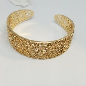 Loft Gold Tone Filigree Floral Slip On Bracelet